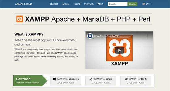 在计算机上安装XAMPP