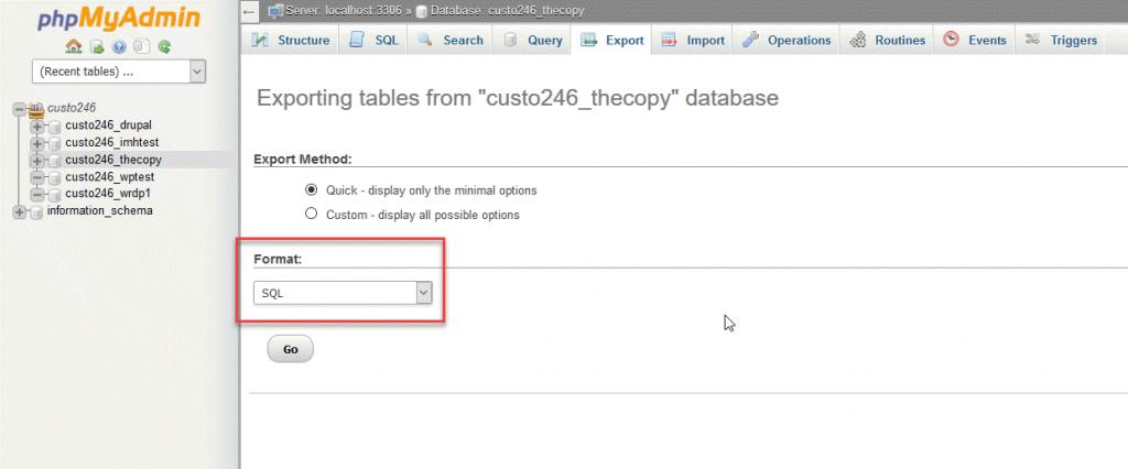 phpmyadmin如何导出数据库?