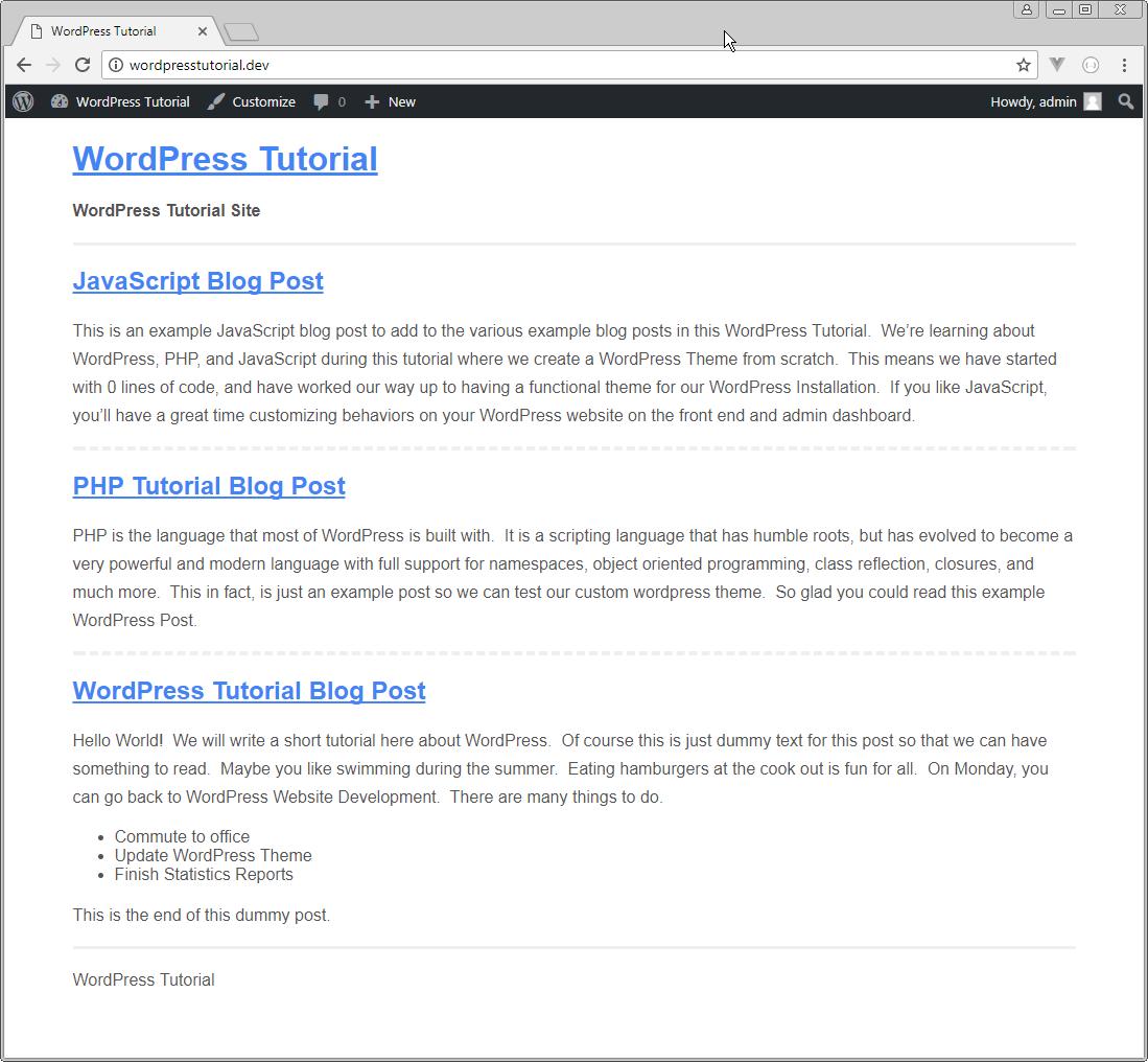 wordpress主题从零开始开发